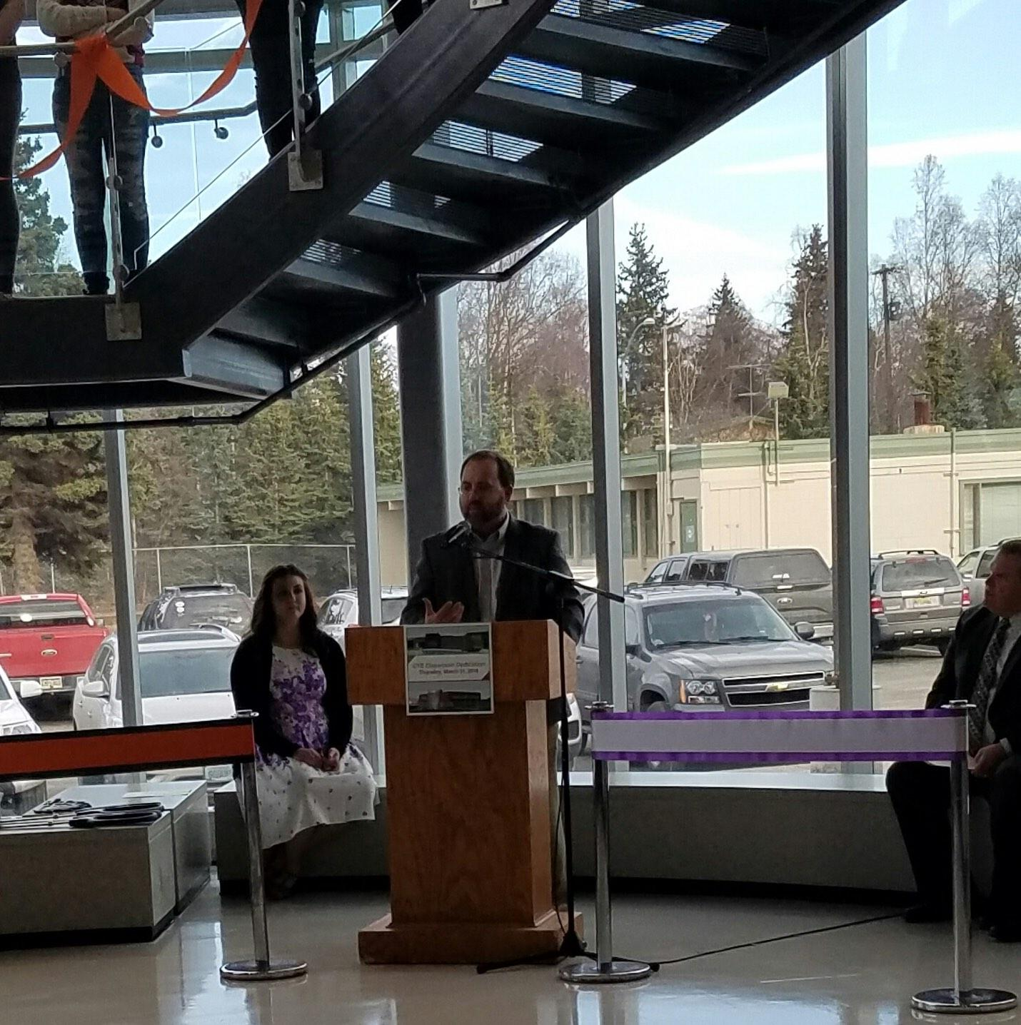 Principal Rick Stone giving a speech at West Anchorage High school, during the grand opening of the Career and Technical Education wing on March 31, 2016.