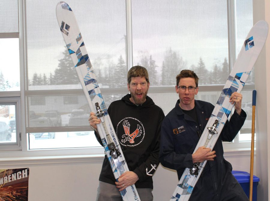 The+two+West+High+teachers%2C+Berglund+and+Friedrichs%2C+show+off+their+skis.