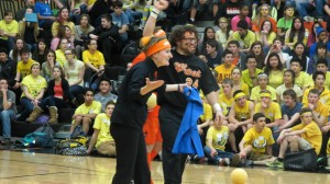 Ms. Jones and Mr. Davis gloat over their Dodgeball victory,