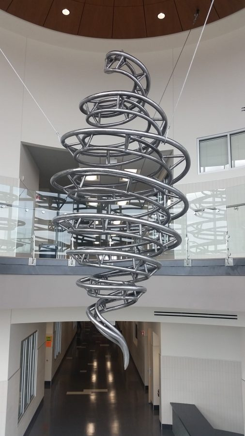 Steel artwork by Mark Gibian in the CTE wing at West.