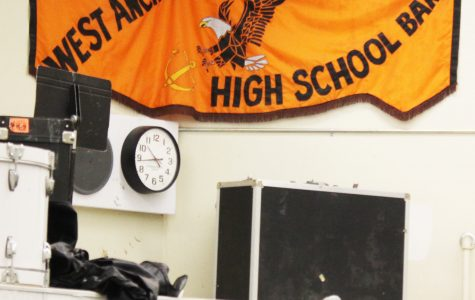West Anchorage Band Flag portrayed over the exit out of the Band/Orchestra room.