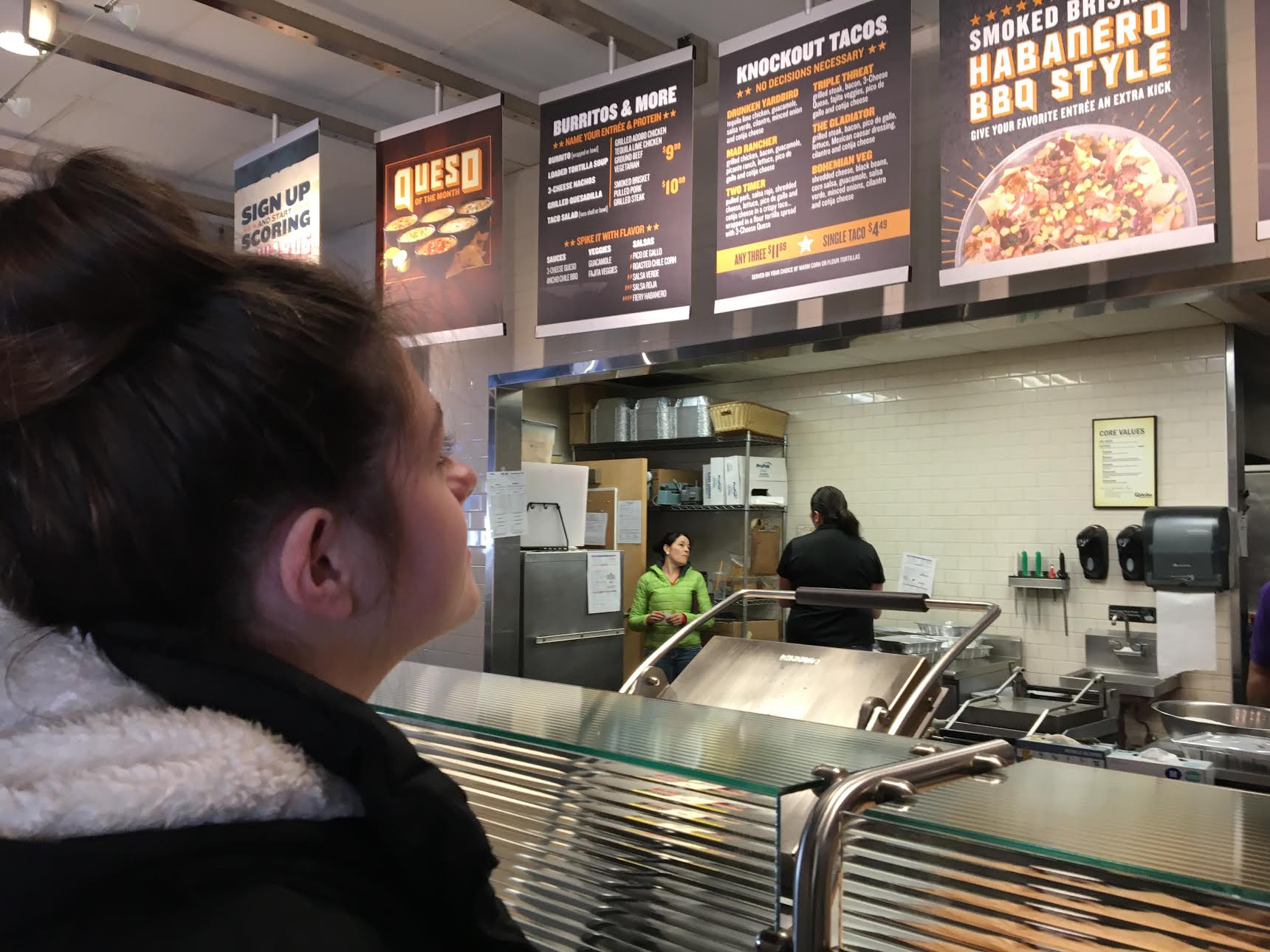 Dasia Tirapelli can hardly wait to order a burrito at Qdoba during her lunch break on Wednesday, Febuary 1st, 2017.