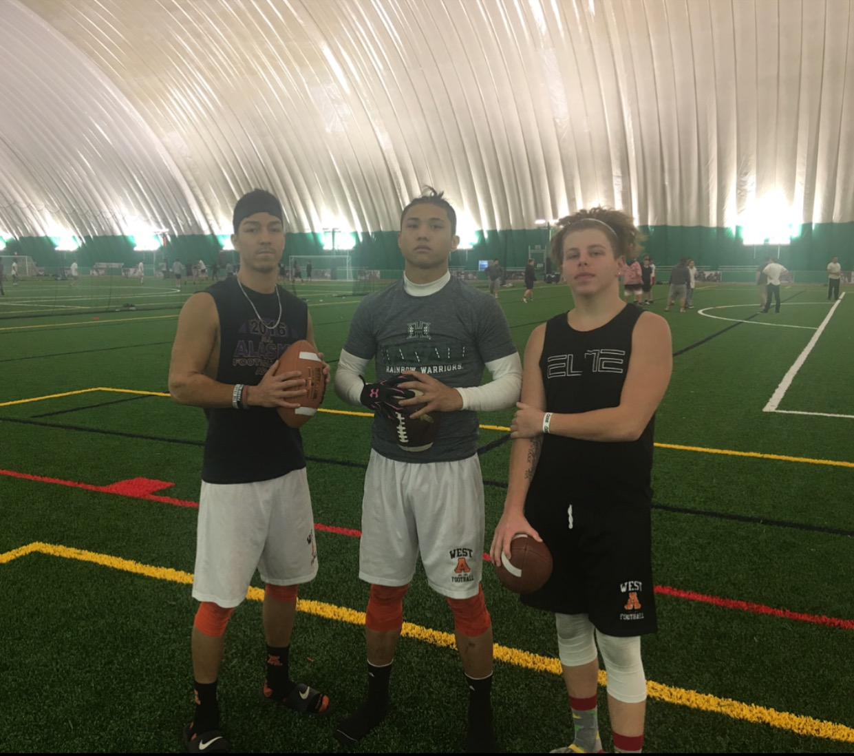 Bubba Mendoza, Dhar Montalbo and Koko Ortiz (left to right) playing flagfootball at The Dome on Janurary 25th to play flagfootball together