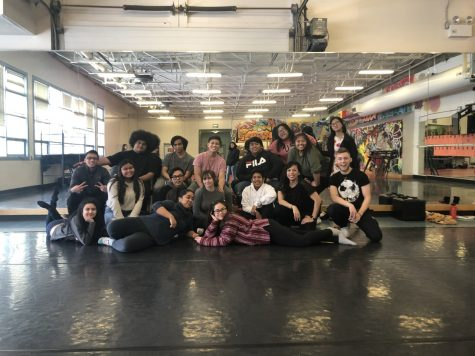 Tech crew posing for group picture in the Dance room.