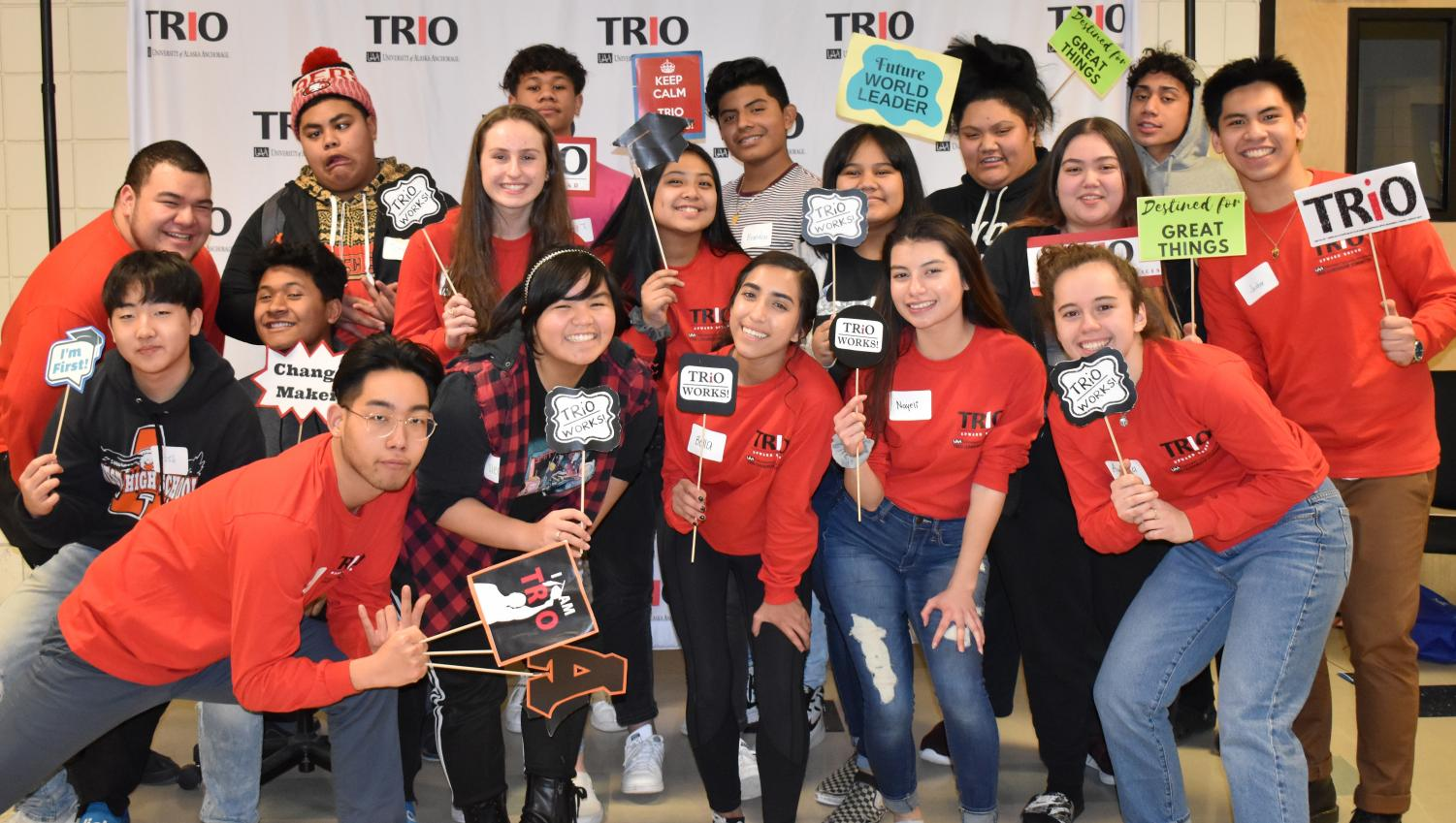 On January 17, 2020, TRIO Upward Bound TLC hosts a welcoming event for the new incoming TRIO members. This event was hosted at West Anchorage High School's Cafeteria, during after school from 2:30 pm to 4:30 pm. They all wanted one last photo before they left to go home.