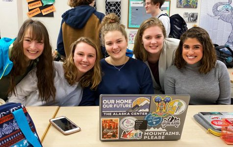 Before the meeting began at West on January 21, 2020 Ashlynn Johnson, Kelsey Johannes, Lily Flanum, Devon James and Caitlin Omey posed for a photo before eating their lunches.
