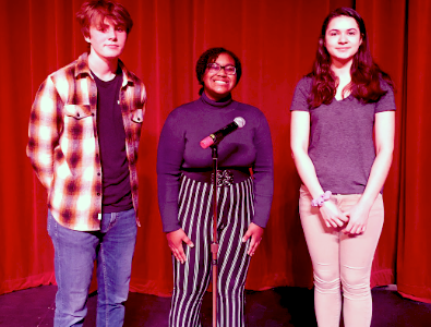 Poetry Out Loud participants Frontrunner Cam Brosnahan, 1st place winner Asya Gipson, and alternate Victoria Rossoff in the West High auditorium.